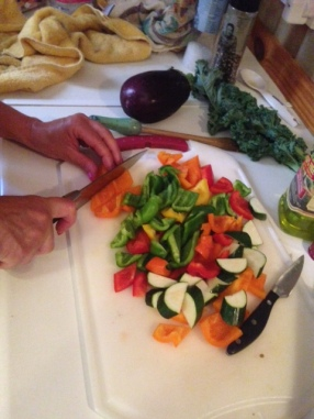 cutting up veg